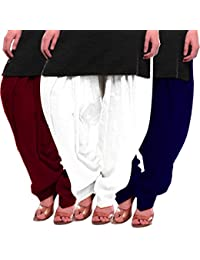 Women's Maroon White-Blue Cotton Patiala Salwar
