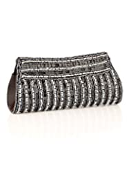 Voylla Gleaming Black And Silver Sequin Beaded Clutch