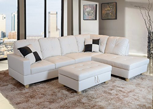 Beverly Furniture Beverly White 3 PieceFaux Leather Left-facing Sectional Sofa Set with Storage Ottoman, White