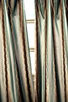Blue & Brown Striped Jacquard silk black out curtain