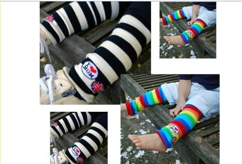 HOTER Baby Color Stripe Leg Warmers Stockings -WHITE&BLACK