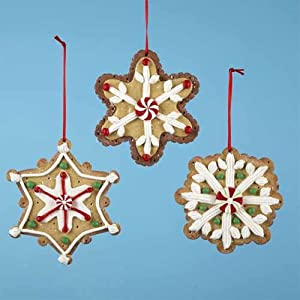Pack of 12 Gingerbread Kisses Decorated Snowflake Cookie Christmas Ornaments 4""