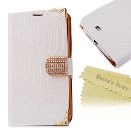 Mavis'S Diary Bling Crystal Flower Fashion Leather Wallet Type Magnet Design Flip Case Cover For Samsung Galaxy Note Ii 2 N7100 I605 L900 I317 T889 Tmobile Version With Soft Cleaning Cloth + Screen Protector (White)