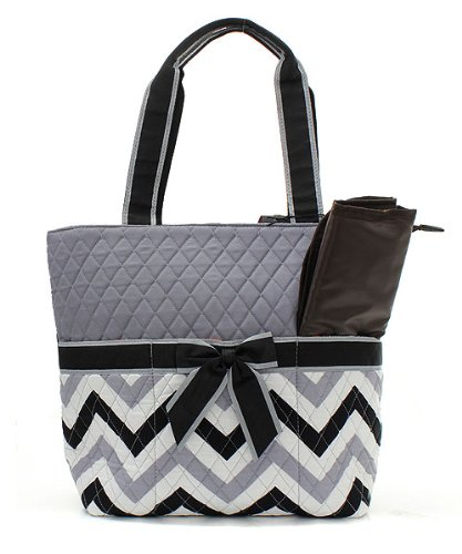 Chevron Stripe Quilted Diaper Bag With Baby Changing Pad & Pouch (Black)