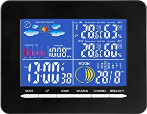 design funk wetterstation farbdisplay thermometer innen au en barometer 178708 garten. Black Bedroom Furniture Sets. Home Design Ideas