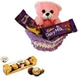 Teddy With Sweets Chocolates With 5 Pcs Ferrero Rocher
