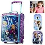 Disney Frozen Girls Luggage Travel Set American Tourister Luggage, School Backpack & Digital Camco