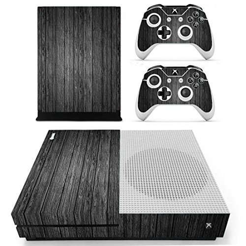 UUShop-Xbox-One-S-Slim-Skin-Stickers-for-Microsoft-Xbox-One-S-with-Two-Free-Wireless-Controller-Decals-Black-Grey-Wood