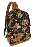 Generic Women Girl Lady Vintage Cute Flower School Book Campus Bag Backpack (Black)