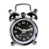 White Retro Mini Bell Alarm Clock - A fun and funky Gift Ideal - Ladies / Womans Perfect Ideal Christmas Present / Gift / Stocking Filler Ideal Gift for the Home