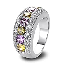 buy Hot Sale Ring Gift Women'S Elegant Inlaid Colorful Plated 18K Gold Silver Crystal Zircon Filled Cushion Cut Halo Engagement Ring Size 6-12 (12) (6)