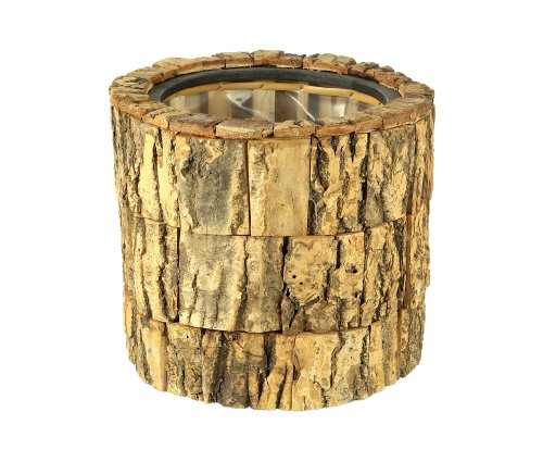 Round Rough Wooden Bark Planter