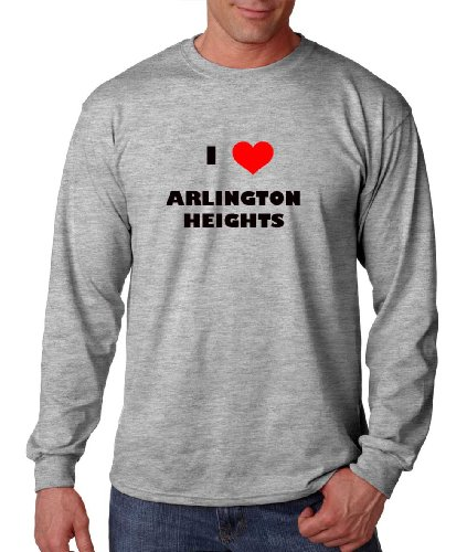 I Love Arlington Heights Il City Country Long Sleeve T-Shirt Tee Top Sports Gray 3XL (City Of Arlington Heights Il)