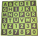 Tadpoles 36 Sq Ft ABC Floor Mat, Green/Brown
