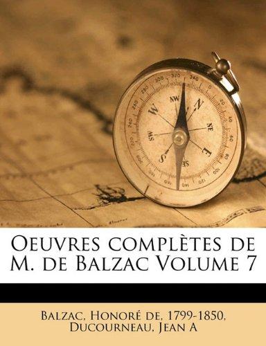 Oeuvres complètes de M. de Balzac Volume 7