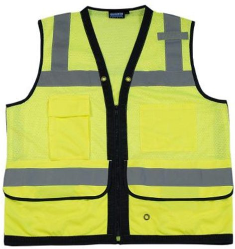 Erb 61232 S251 Class 2 Surveyor'S Vest, Lime Green, Large front-1001737