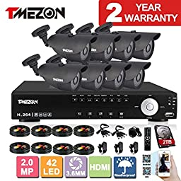 TMEZON 8 Channel 1080N HDMI AHD DVR HVR NVR 3 in 1 Security System including 8x 2000TVL 2.0MP Waterproof Bullet Surveillance Camera w/ 42 IR Leds Night Vision Up to 130ft Remote View 2TB HDD