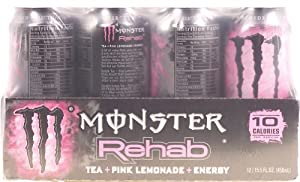 Monster Rehab Pink Lemonade + Tea + Energy 15.5-fl. oz. cans (Pack of 12)