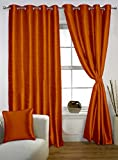 Lushomes Mango Colored Twinkle Star Curtain with Blackout Lining for Long Door