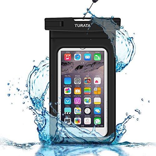 Turata 超強携帯防水ケース 6インチ以下に対応 ナノメートル加工隙なし PVC素材 透明ブラック ネックストラップ アームバンド付属