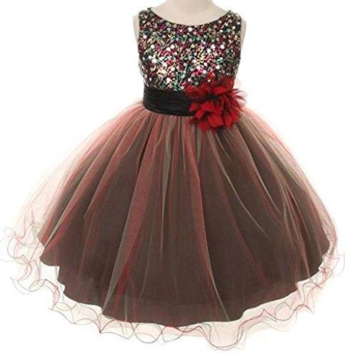 Flower Girls Dress Multi Sequin Beaded Dress Burgundy Red Baby S-Xl Girls 2-14