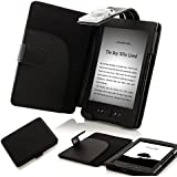 ForeFront Cases® Lederhülle / Hülle / Schutzhülle - Synthetik mit LED LICHT Schwarz - für den neuen AMAZON KINDLE (4) WLAN, 15 cm E Ink Display, Schwarz - 5TH GENERATION - Case Cover mit Leselampe