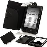 ForeFront Cases� Funda cubierta de cuero sint�tico para con luz LED para lectura color Negro, Case Cover Para el Nuevo Amazon Kindle 4, pantalla de E Ink de 6