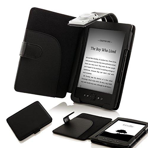 ForeFront Cases® Housse Étui en cuir synthétique avec lampe de lecture LED, Noir – pour Amazon Kindle 4 Wi-Fi, 6″, affichage encre électronique E Ink, Noir – 5th Gén SEPT 2012 Case Cover