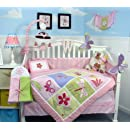 Soho Butterflies Meadows Baby Crib Nursery Bedding Set 13 Pcs Included Diaper Bag With Changing Pad Bottle Case