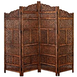 Amazon.com - 4 Panel Moroccan Style Hand Carved Solid Wood Screen Room
