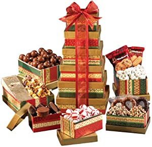 Broadway Basketeers Seasons Greetings Holiday Gift Tower