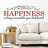 ORDERIN Wall Decal Happiness Warm Sweety Engilsh Letter Removable Mural Wall Stickers for Home Decor