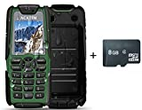 Acatim Unlocked Military Version IP67 Unblocked Waterproof Dustproof Shockproof Cell Phones with 8GB TF Card ,Dual Sim Cards , Standby 60days with LED Flashlight & 5000mAh Power Bank Function(Green)