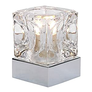 Modern Glass Ice Cube Touch Table Lamp with Metal Base from MiniSun