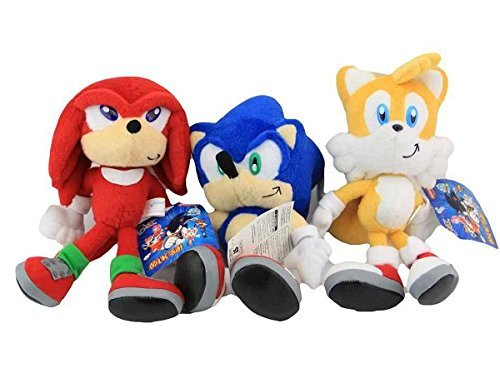 Sonic the Hedgehog Knuckles Tails Set of 3 pcs Soft Plush Figure Toy Anime Stuffed Animal Child Gift Doll