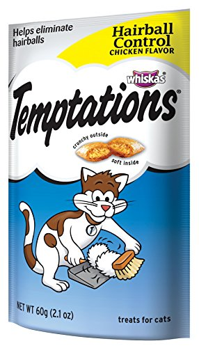 Whiskas 08541 Temptations Hairball Control Cat Treats, 2.1-Ounce (Pack of 12)