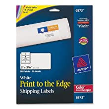Avery Print-To-The-Edge Labels for Laser Printers, 2 x 3.75 Inches,  200 Labels per Pack (06873)