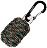 "With Sharp Eye Knife - The Friendly Swede Carabiner ""Grenade"" Survival Kit Pull with Needle, Wire, Alcohol Pad, Tin Foil, Tinder, Fire Starter, Fishing Lines, Fishing Hooks, Weights, Swivels, Dobber Wrapped in 9ft of 500 lb Paracord in Retail Packaging - Lifetime Warranty"