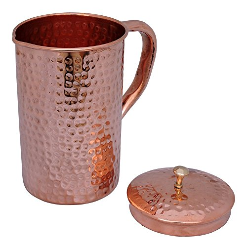 BLUE NIGHT Pure Copper Hammered Water Jug | Copper Pitcher for Ayurveda Health Benefit . (Water Jug Spicket compare prices)
