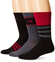 adidas Men\'s Cushioned Assorted Color 3-Pack Crew Socks, Black/Onix/Power Red, Large
