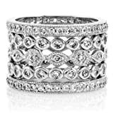 Cubic Zirconia Set of 5 Stackable Rings - Sterling Silver