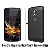 #5: shoppingmonk Moto G5s Plus Back Cover Case - [Premium Quality] Brushed Armor Shock Proof Soft TPU Back Case for Moto G5s Plus (Black) + Premium Tempered Glass screen protector (Transparent)
