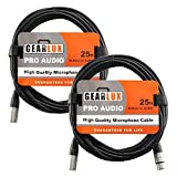 Gearlux Balanced 25-Foot XLR Microphone Cable with Oxygen-Free Copper Conductor - Male to Female - 2 Cables