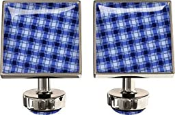 Wurkin Stiffs Men\'s Square Cufflinks,Gingham Blue,US
