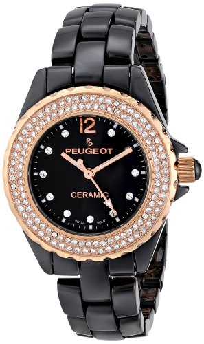 Peugeot Women's PS4892BR Swiss Ceramic Swarovski Crystal Black Dial Watch