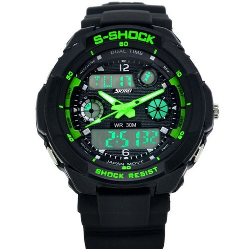 Susenstore Multi Function Military S-Shock Sports Watch Led Analog Digital Waterproof Alarm (Green)