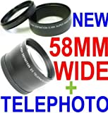 ~58mm Wide Angle + 58mm Telephoto lens Kit! ~ INCLUDES Lens bags! for Canon ....