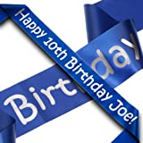 Blue and Silver Personalised Birthday Banner 100mm x 1 Meters by Crystal Innovation