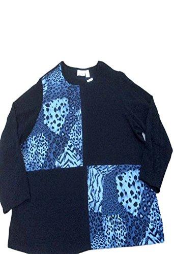 Fashion Bug Plus Size Tops Women Knit Tunic Black/Gray Animal Print 4X (Fashion Bug Plus Size)