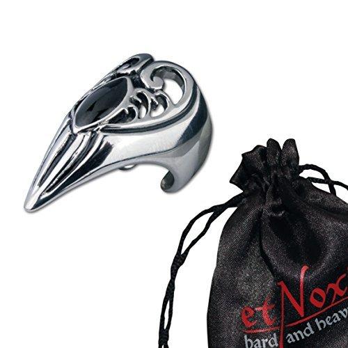 Echt etNox SR1170 - Anello in acciaio con onice, motivo: polpastrello